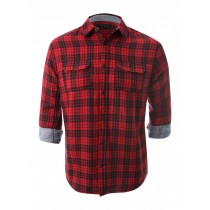 Casual Cotton Red And Black Check Shirt