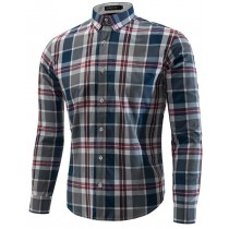 Mens Checked Pattern Long Sleeve Casual Shirts