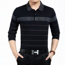 Mens Collar Polo Wool Clothing Long Sleeve T Shirts