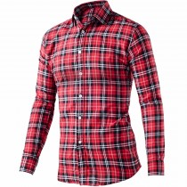 Mens Fashion Plaid Long Sleeve Cotton Casual Shirts
