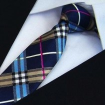 Mens Fashion Polyester Plaid Skinny Ties