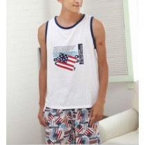 Mens Flag Prints Vest And Short Nightwear