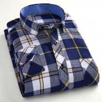 Mens Flannel Slim Fit Plaid Casual Shirts