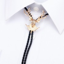 Mens Golden Deer Face With Rope Tie