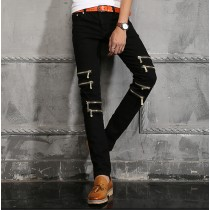 Mens Knee Zipper Black Slim Jeans
