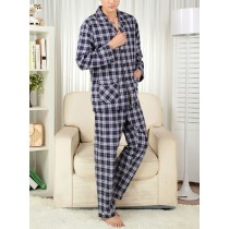 Mens Long Sleeve Plaid Classic Style Nightwears