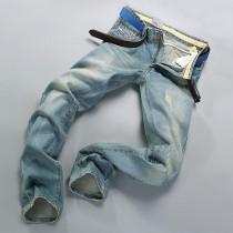 Mens Mid Waist Straight Jeans