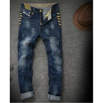 Mens New Grinding Hole Straight Jeans