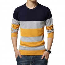 Mens New Striped Slim Fit Casual Pullovers