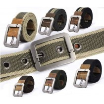 Mens Pin Buckle Canvas Casual Striped Belts