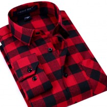 Mens Plaid Long-Sleeved Slim Fit Casual Shirt