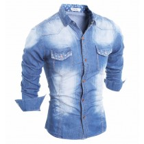 Mens Pocket Printed Denim Casual Shirts