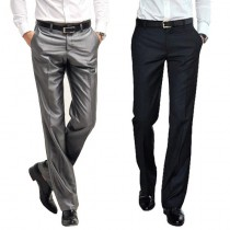 Mens Polyester Slim Fit Zipper Fly Formal Trousers