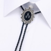 Mens Rose Black Agate Tie With Rope
