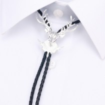 Mens Silver Deer Face With Rope Tie