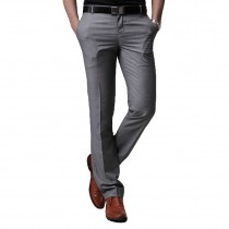 Mens Slim Fit Grey Polyester Formal Trousers
