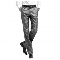 Mens Solid Flat Front Formal Trousers