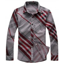 Mens Striped Pattern Slim Fit Casual Shirt
