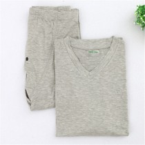 Mens V Neck Bamboo Fiber Cotton Pajama Sets