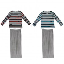 Mens Winter Striped Pattern Casual Nightwear Sets