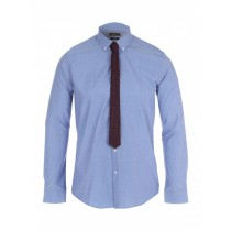 Mid Blue Button Down Slim Fit Formal Shirt