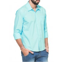 Mint Green Solid Regular Fit Casual Shirt 3