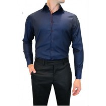 Modern Navy Blue Formal Shirt With Ribbon Trim