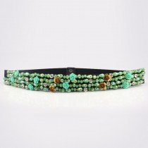 Multicolored Crystal Elastic Dress Waist Belts