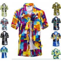Multicolored Short Sleeve Printed Casual Shirts