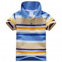 Multicolored Stripe Stand Collar Boy Tshirts