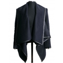Navy Blue Cross Long Sleeve Women Winter Coat