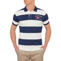 Navy Blue Large Striped Polo Tshirt