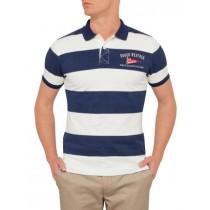 Navy Blue Large Striped Polo Tshirt