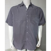 Navy Blue Mens Plus Size Striped Casual Shirt