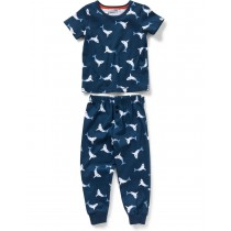 Navy Blue Shark Print Cotton Nightwear