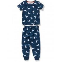Navy Blue Shark Print Cotton Nightwear