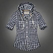 Navy Blue Women Casual Shirt With Hood