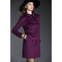 Purple Cross Long Sleeve Women Winter Coat