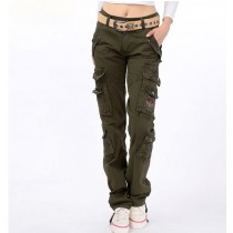 New Arrival Straight Army Green Women Cargo