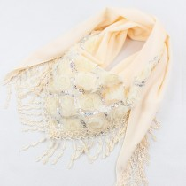 New Arrival Triangle Sequined Flower Scarves