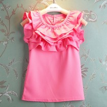 New Big Ruffle Collar Chiffon Girl Tshirt