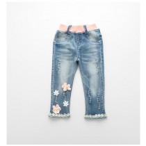 New Fashion Flowers Lace Pattern Girl Jeans