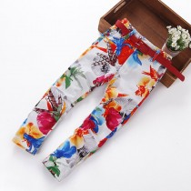 New Flower Print Straight Girl Causal Trousers