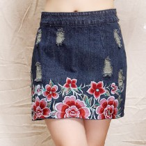 New Women Flower Embroidery Short Skirt