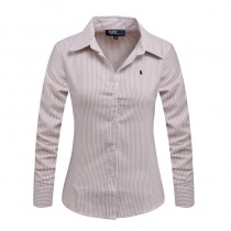 New Women Long Sleeve Pure Color Striped Shirts