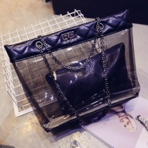 New Women Transparent Handbags 2 Pcs Set