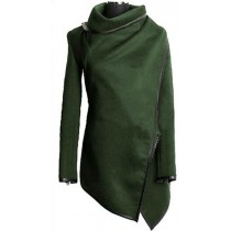 Olive Cross Long Sleeve Women Winter Coat