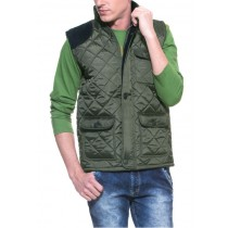 Olive Green Sleeveless Quilted Jacket