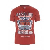 Orange Half Sleeves Graphic Printed Tshirt