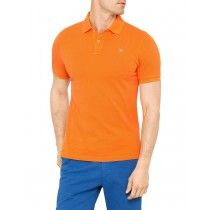 Orange Slim Fit Cotton Unique Style Polo Tshirt
